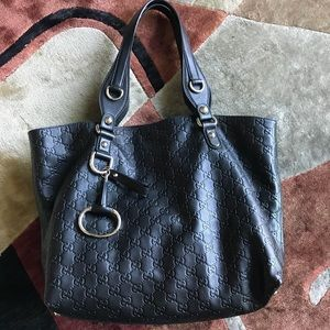 Gucci Guccissima Black Tote Purse Horsebit Rare!